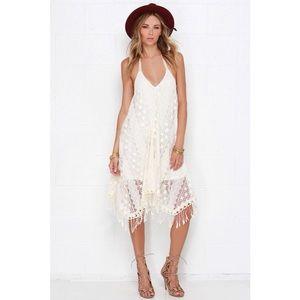 Anna Sui x O'Neill Cream Lace Halter Dress